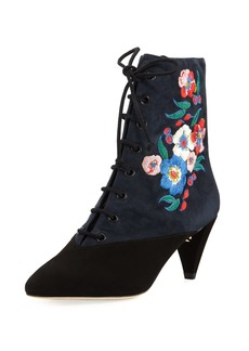 Tory Burch Cassidy Embroidered Lace-Up 45mm Bootie