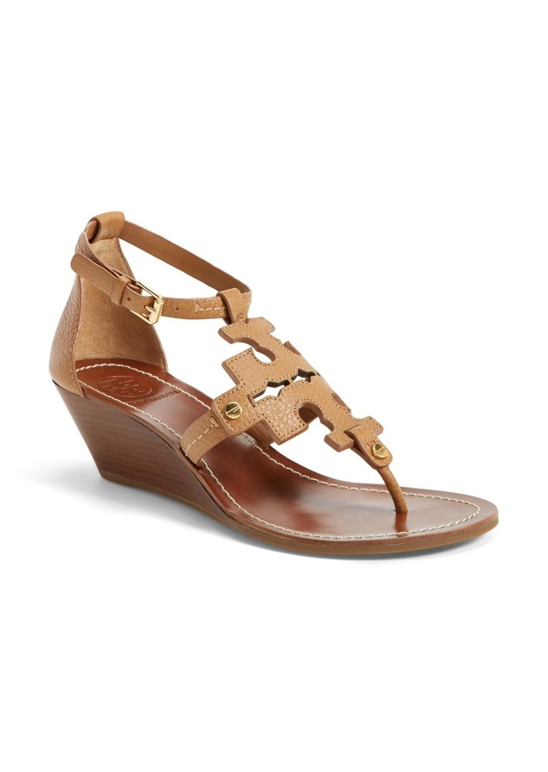 tory burch tory burch 39 chandler 39 wedge leather sandal women shoes shop it to me. Black Bedroom Furniture Sets. Home Design Ideas