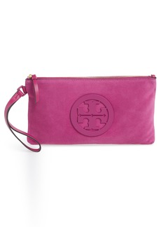 Tory Burch Charlie Suede Wristlet Clutch