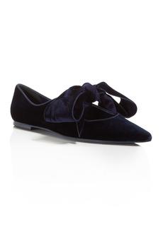 Tory Burch Clara Velvet Pointed Toe Tie Flats