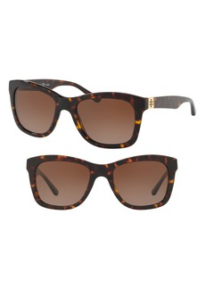 Tory Burch Classic Stacked 52mm Polarized Sunglasses