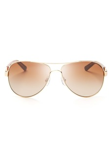 Tory Burch Women's Classic Stripe Aviator Sunglasses, 57mm