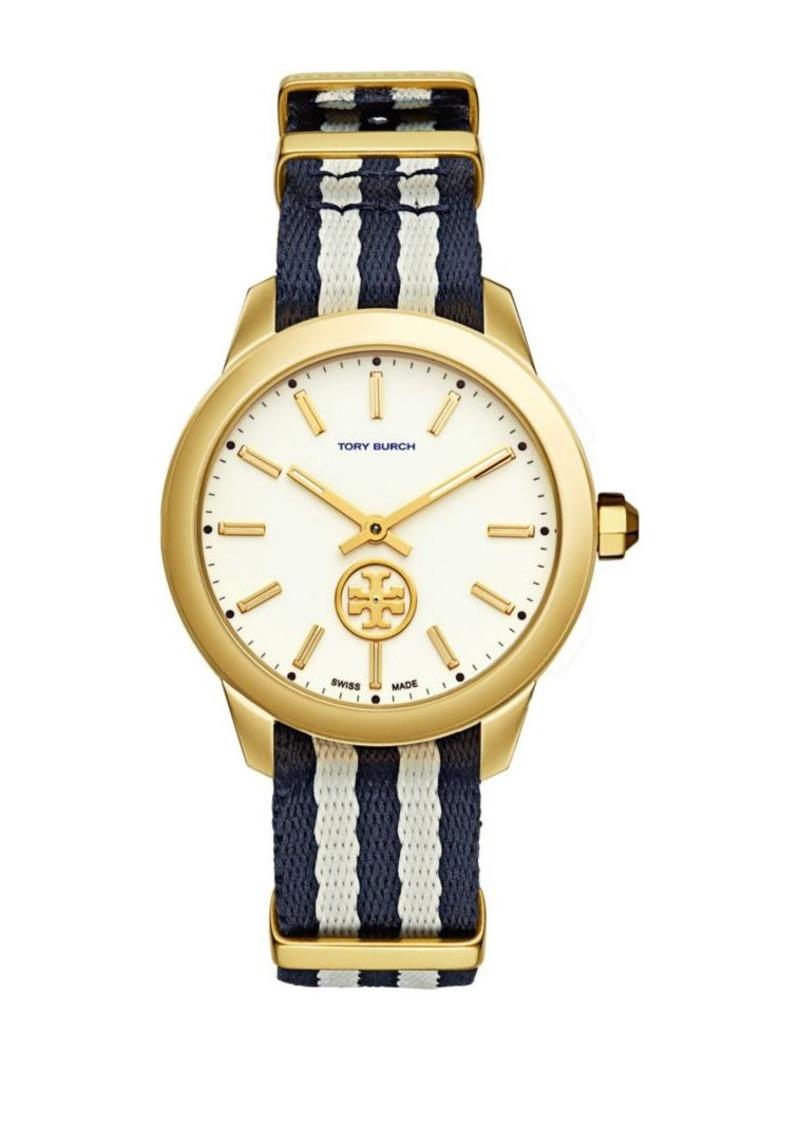6bf7b6c28 Tory Burch Tory Burch Classic The Collins Goldtone Nylon Strap Watch ...