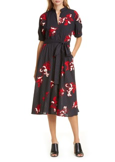 Tory Burch Clip Dot Embroidered Cotton Shirtdress