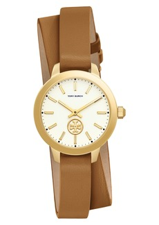 Tory Burch Collins Double Wrap Leather Strap Watch, 32mm