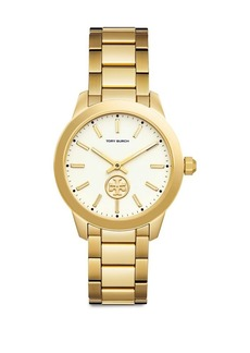 Tory Burch Collins Goldtone Stainless Steel Bracelet Watch