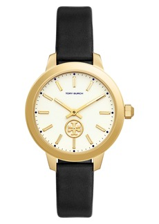 Tory Burch Collins Leather Strap Watch, 38mm