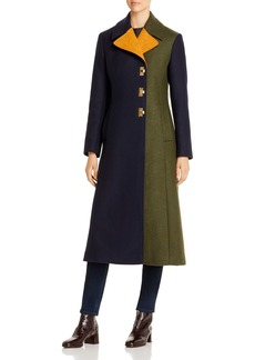 Tory Burch Color-Blocked Long Coat
