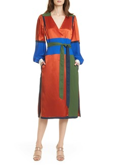 Tory Burch Colorblock Long Sleeve Wrap Dress