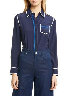 Tory Burch Contrast Binding Silk Shirt