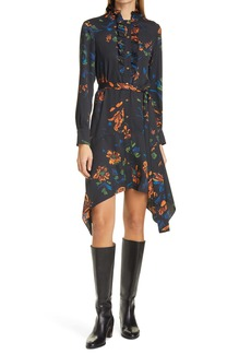 Tory Burch Cora Floral Long Sleeve Handkerchief Hem Shirtdress