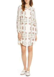Tory Burch Cora Floral Tile Long Sleeve Silk Shirtdress