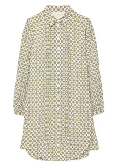 Tory Burch Cora Logo Print Long Sleeve Shirtdress