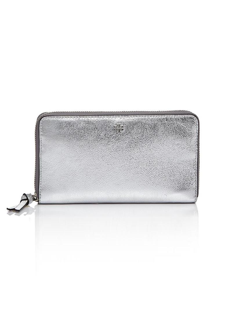 d1b655ca03a8 Tory Burch Tory Burch Crinkle Metallic Leather Zip Continental ...