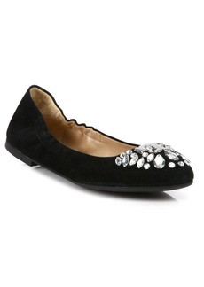 Tory Burch Delphine Crystal & Suede Ballet Flats