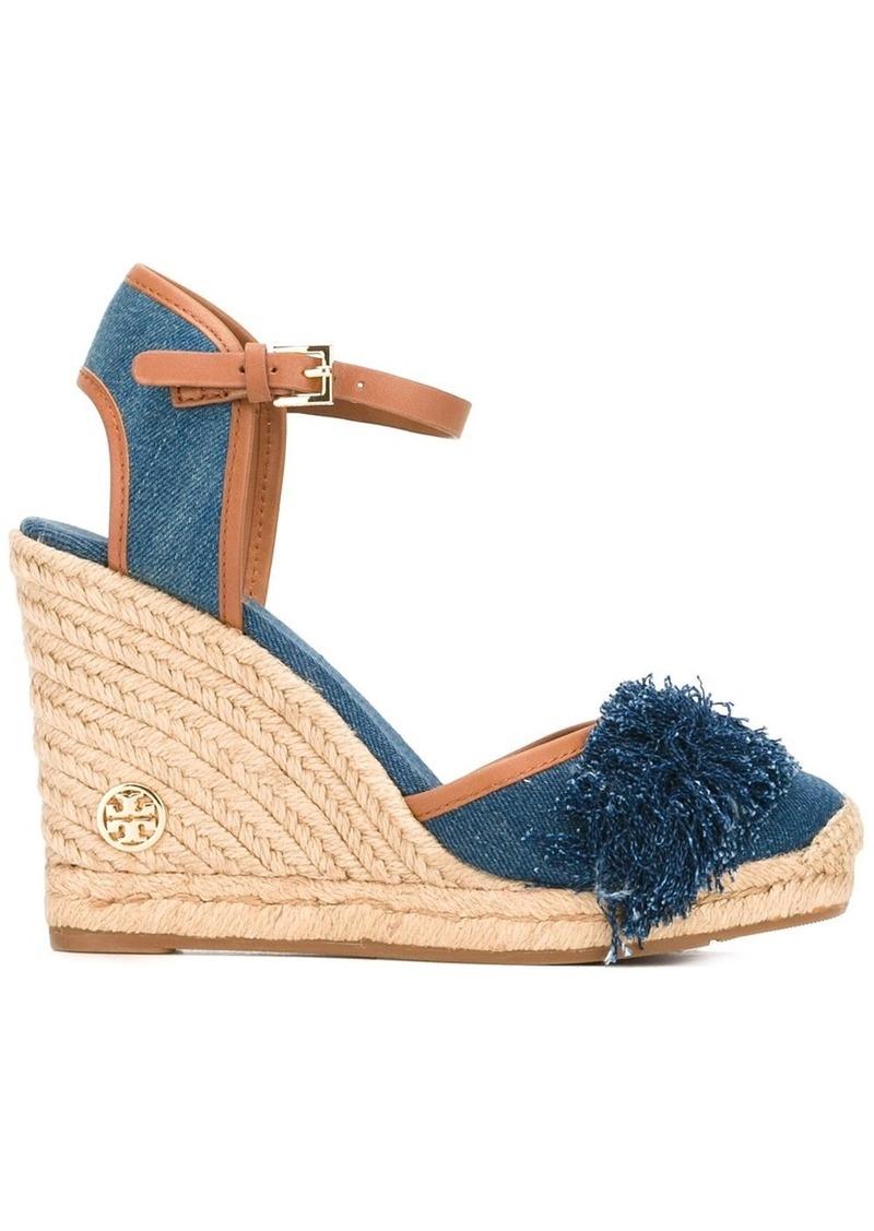 Tory Burch denim wedge sandals - Blue