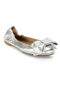 Tory Burch Divine Bow Metallic Leather Driver Ballet Flats