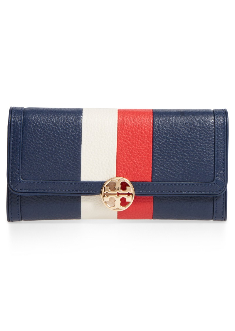 2e127f957c0 Tory Burch Tory Burch Duet Chain Stripe Leather Continental Wallet ...