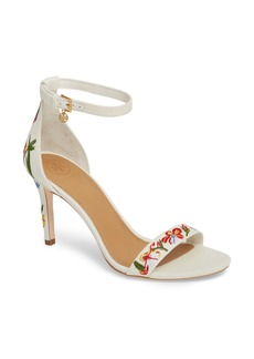 Tory Burch Ellie Embroidered Ankle Strap Sandal (Women)