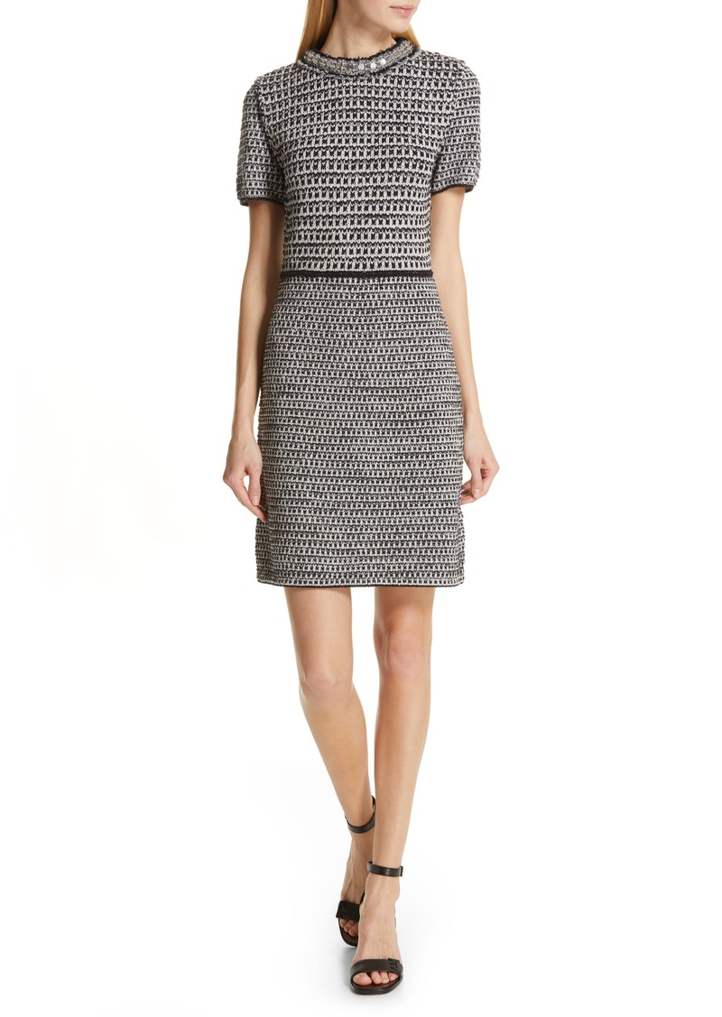 Tory Burch Embellished Fringe Tweed Dress