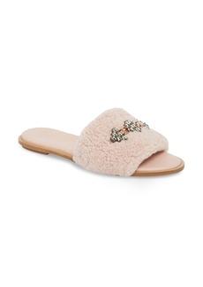 Tory Burch Embellished Genuine Shearling Slide Sandal (Women)