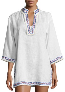 Tory Burch Embellished Linen Coverup Tunic