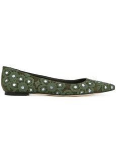 Tory Burch embellished pointed ballerina shoes - Green