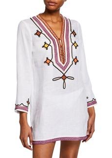 Tory Burch Embellished V-Neck Linen Tunic