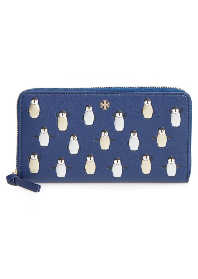Tory Burch Embossed Leather Zip-Around Wallet