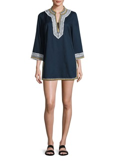 Tory Burch Embroidered 3/4-Sleeve Cotton Coverup Tunic