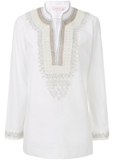 Tory Burch embroidered bib blouse - White