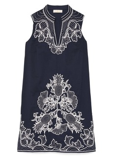 Tory Burch Embroidered Cotton Voile Cover-Up Tunic Dress