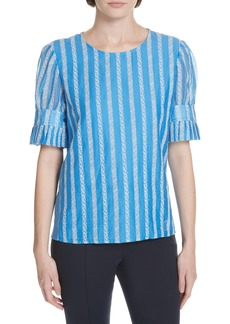 Tory Burch Embroidered Detail Cotton & Silk Blouse
