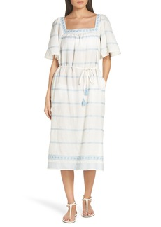 Tory Burch Embroidered Linen & Cotton Dress