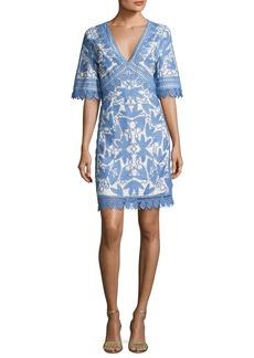Tory Burch Embroidered Macrame Half-Sleeve Dress
