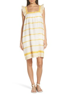 Tory Burch Embroidered Ruffle Strap Linen & Cotton Dress
