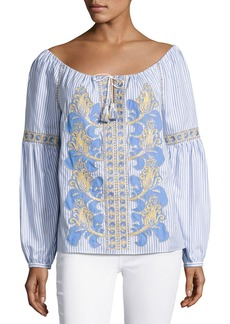 Tory Burch Embroidered Seersucker Peasant Blouse