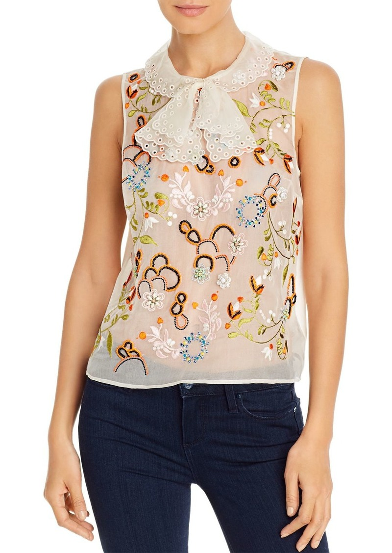 Tory Burch Embroidered Silk-Organza Top