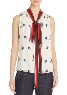 Tory Burch Embroidered Tie-Neck Top
