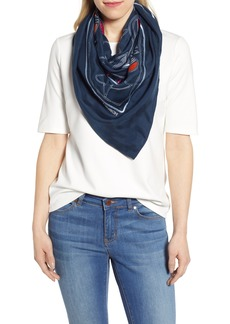 Tory Burch Embroidered Toucan Square Silk Scarf