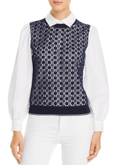 Tory Burch Embroidered Vest Poplin-Sleeve Top