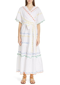 Tory Burch Embroidered Wrap Maxi Dress