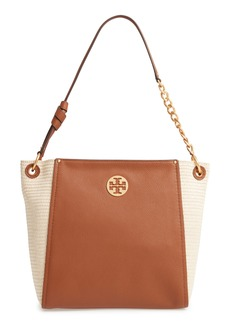 Tory Burch Everly Leather & Straw Hobo
