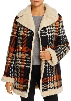 Tory Burch Faux-Shearling-Lined Plaid Coat