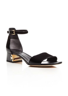 Tory Burch Finley Patent Leather Logo Block Heel Sandals