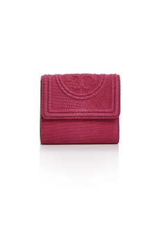 Tory Burch Fleming Snake-Embossed Leather Mini Wallet