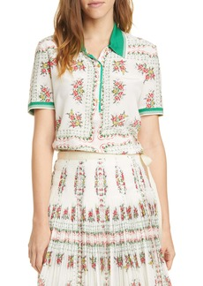 Tory Burch Floral Cotton Polo