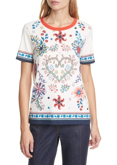 Tory Burch Floral Heart Graphic Cotton Tee