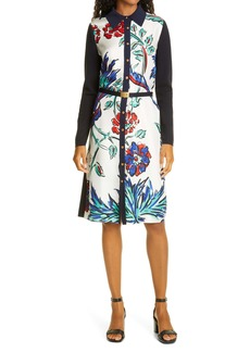 Tory Burch Floral Long Sleeve Silk & Merino Wool Shirtdress