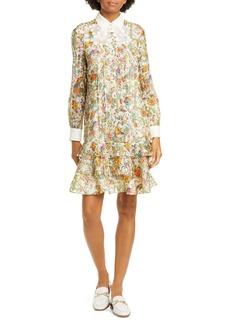 Tory Burch Floral Metallic Long Sleeve Silk Dress
